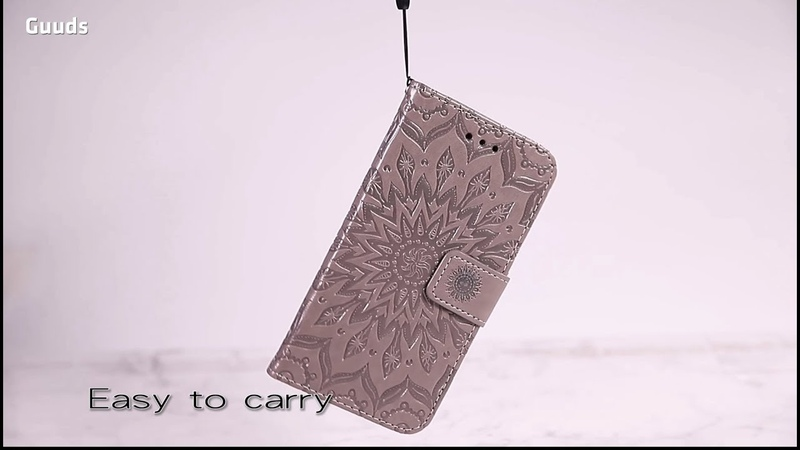 Embossing Sunflower Leather Wallet Phone Case Cover