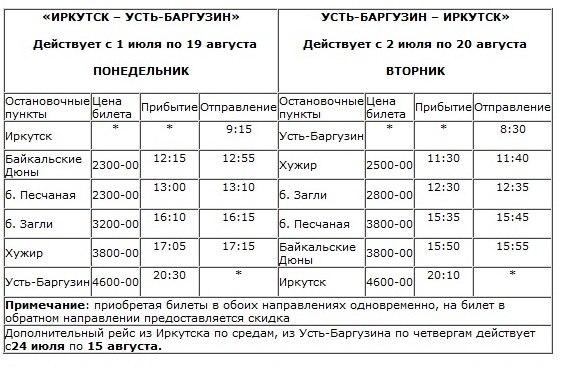 Расписание парома на Ольхон