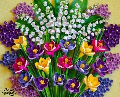 Весенние цветы в технике квиллинг (6 фото) - картинка