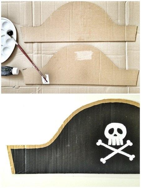 Треуголка пирата из картона