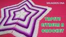 Tapete o carpeta a crochet ESTRELLA EN PUNTO PUFF O GARBANZO paso a paso en video tutorial