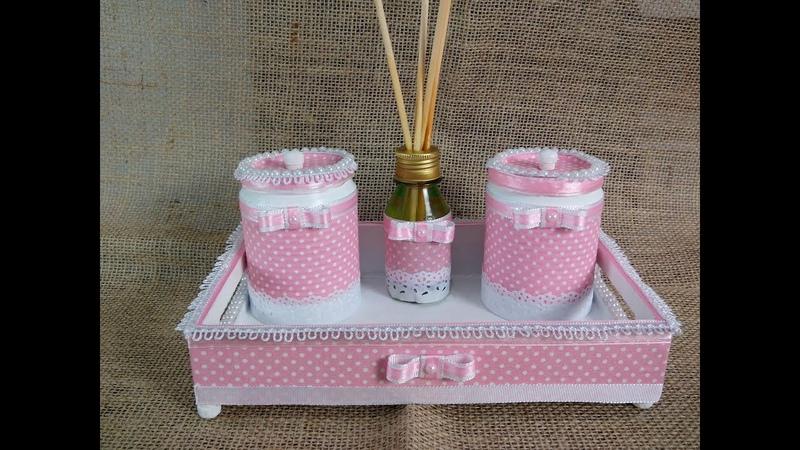 Latas decoradas com tecido Kit Higiene