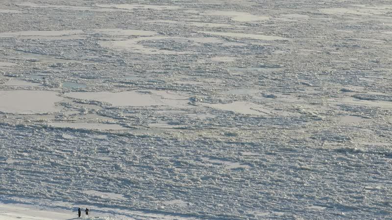 Шуга (осенний ледоход) на реке Лена под городом Покровск утром 9 ноября 2018 года.