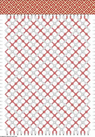Схема плетения фенечки из 2 цветов для опытных.