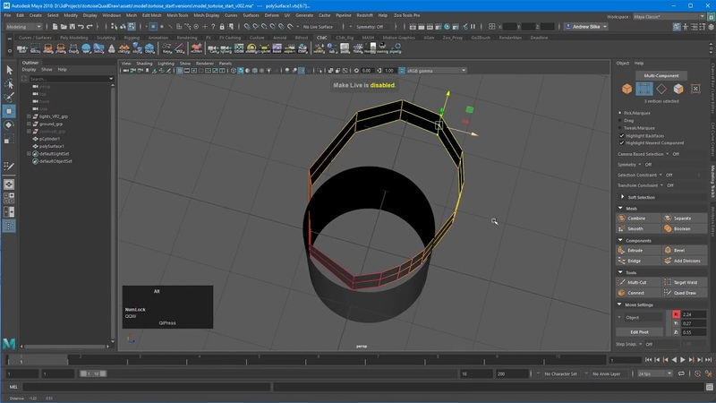 Maya tutorial Quad Draw modeling 5 3 Options Conform offset