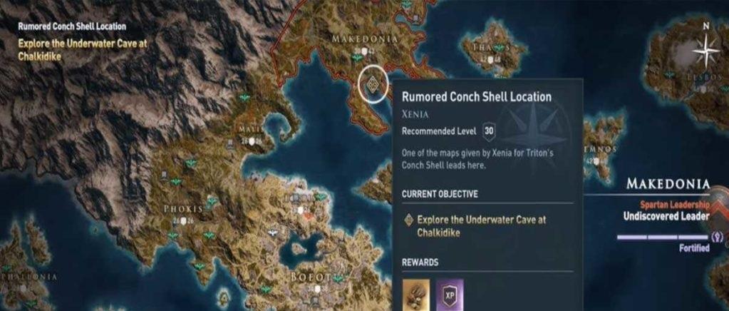 Раковина Тритона карта нахождения Assassin's Creed Odyssey
