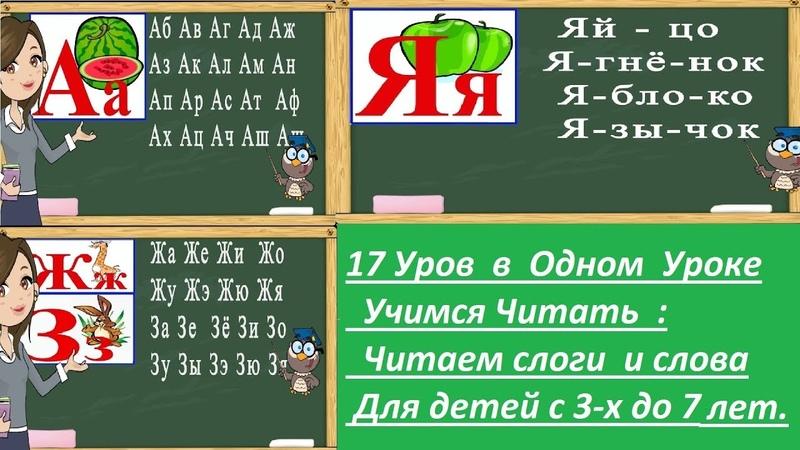 Учимся читать слоги и слова на буквы от А до Я. Тренажер по чтению. Букварь для детей.
