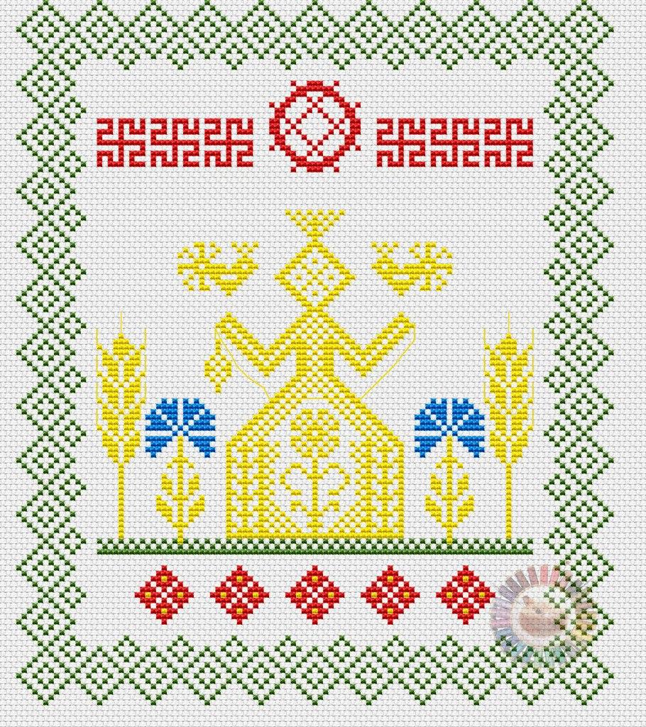 славянское полотенце для хлеба схема вышивки