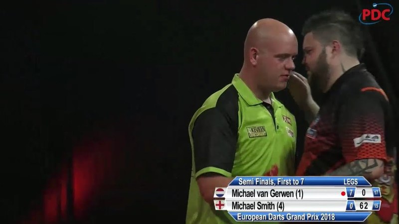Michael van Gerwen 10 DARTER on BULLSEYE vs Michael Smith | European Darts Grand Prix | SEMI-FINAL