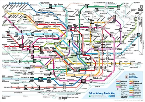 Схема метро токио