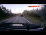 ГАЗ 66 улетел в кювет из-за дальнобойщика на фуре