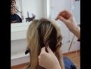 Вечерняя прическа на среднюю длину волос, без завивки