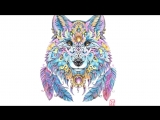 Nadiya Vasilkova платки с волками. Рисунок точками и акварелью