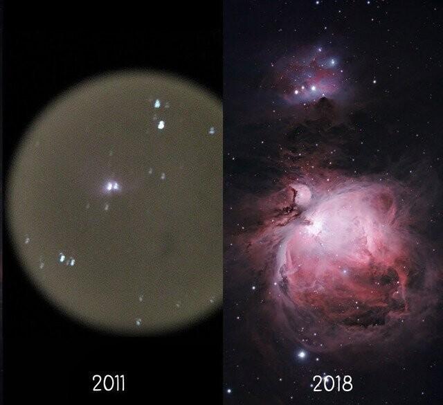 Астрофотограф Тревор Джонс решил сравнить свой первый снимок туманности Ориона с последним.