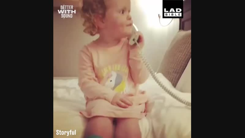 Little Girl Pretends To Be On The Phone.mp4
