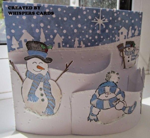 Открытка с объемным снеговиком внутри
