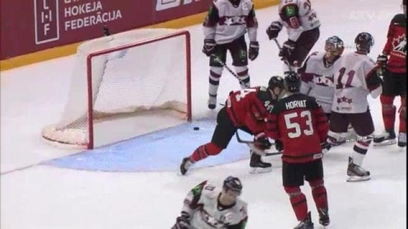 Latvijas hokejisti pārbaudes spēlē nenoturas pret vareno Kanādu Raksts.mp4