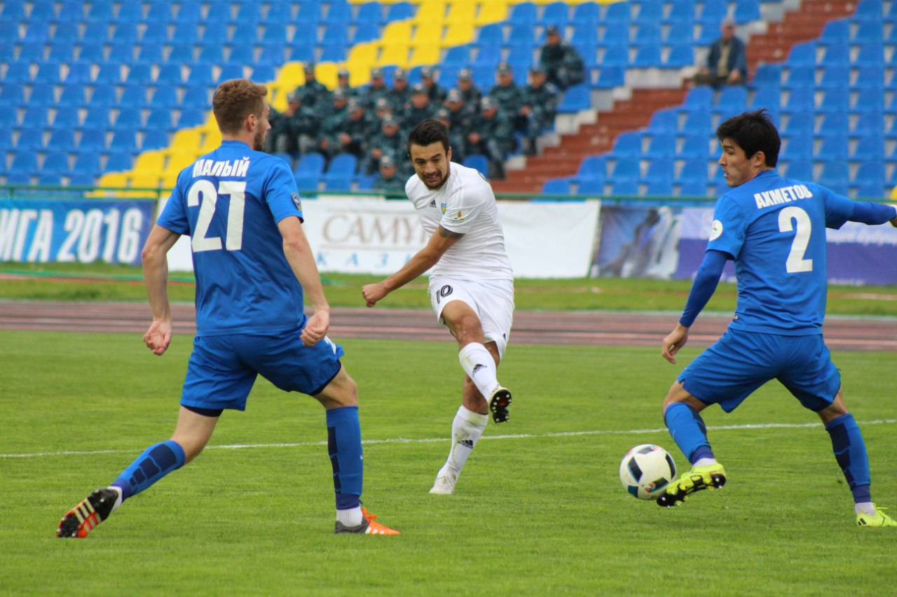 Savikj fires a shot; photo: Zhetysu FK