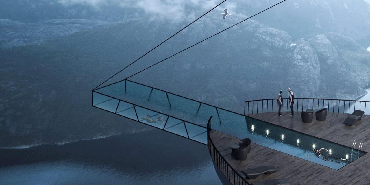 - Проект стеклянного бассейна. Фьорды в Норвегии.