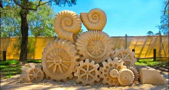 золотий пензлик, скульптури з піску