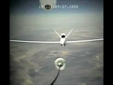 Global Hawk RQ-4 UAV Unmanned Aircraft Fly in Close Formation during Autonomous Aerial Refueling