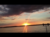 Sunset in the Volga river