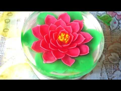 How to make a Gelatin Art 3D Gelatin flower cake 2018 - 3D Gelatin Lotus flower