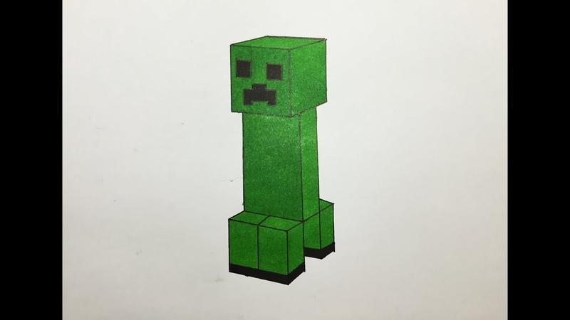 Dibujando y coloreando un Creeper Minecraft - Drawing Creeper