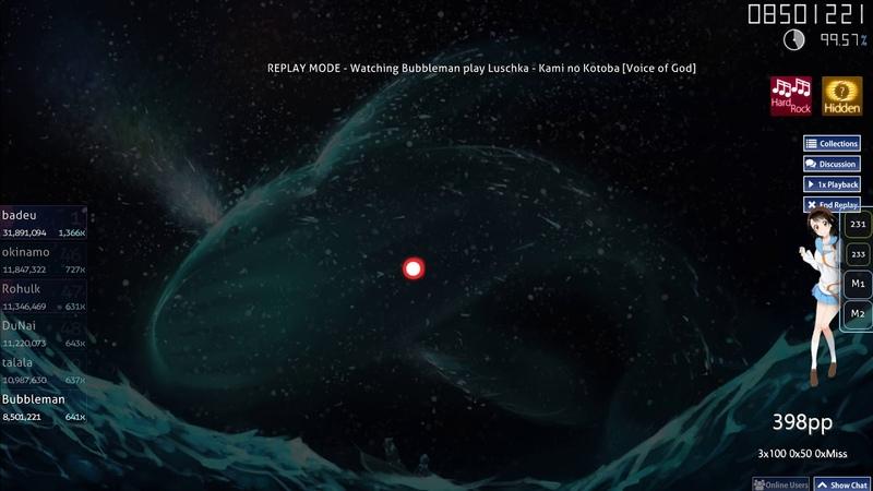Osu! | Bubbleman | Luschka - Kami no Kotoba [Voice of God] HD,HR 98.75% FC 452pp 1