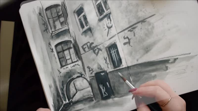 Speed painting из видео урока рисования маркерами Двор Литейного проспекта