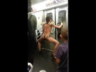 Say no to DRUGS! Naked guy in metro. MUST WATCH