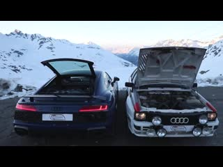 DREAM DRIVE! The original 1983 AUDI QUATTRO climbs the Alps with the new 2019 R8