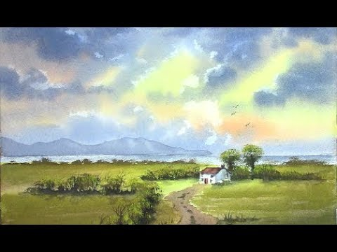 HOW TO PAINT A CLOUDY SKY,BACKGROUND HILLS,AND GREEN FIELDS ...HOLIDAY COTTAGE