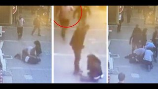 Man Beating Ex-Wife In Turkish Street Gets Headbutted By Have-A-Go Hero | Man beating Wife in street