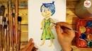 Как нарисовать РАДОСТЬ красками из мультика ГОЛОВОЛОМКА / урок рисования для детей