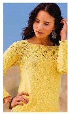 Пуловер с кокеткой из листьев Rayonnant Pullover…. (7 фото) - картинка