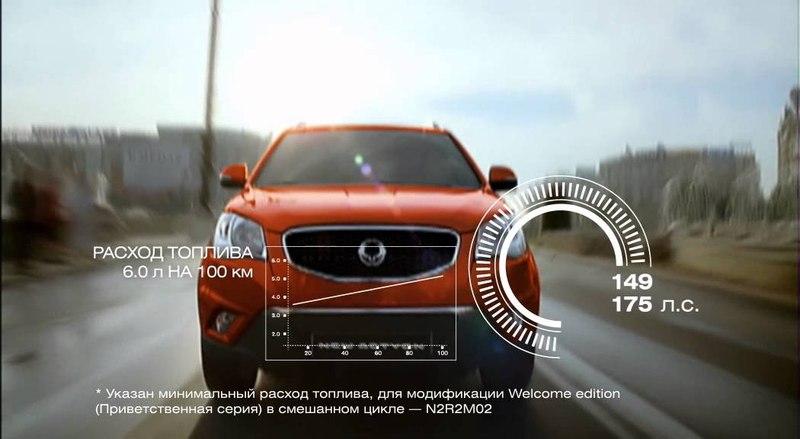 Креативная реклама автомобиля SsangYong с элементами инфографики.