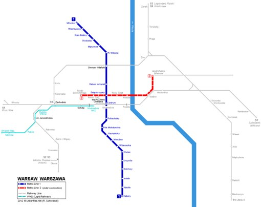 схема варшавского метро.