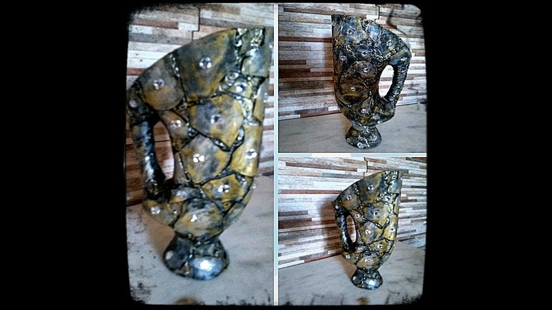 Vaso com Mosaico em EVA feito com Embalagem de sabão.