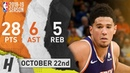 Devin Booker Full Highlights Suns vs Warriors 2018.10.22 - 28 Pts, 6 Ast, 5 Reb!