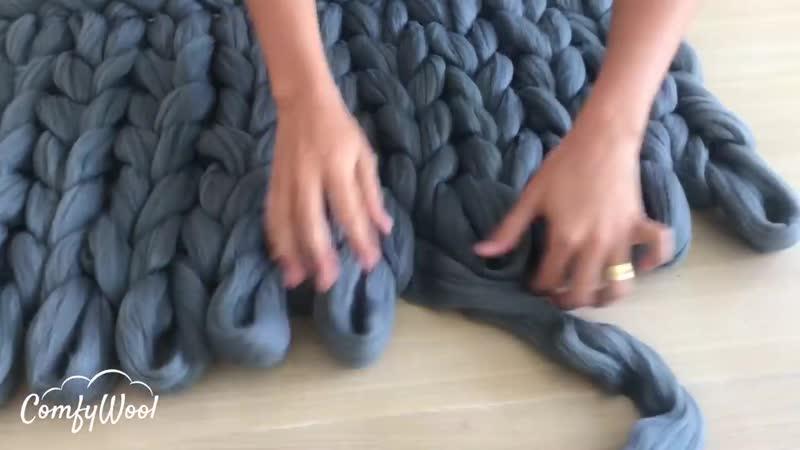 Comment tricoter avec les mains un plaid 90x150cm en laine 100% mérinos