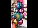 Фонтан из радужных Сфер Баблз с гелием и Хромированных шаров Chrome Balloons
