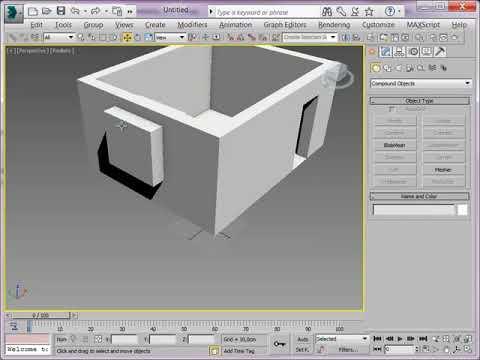 3DSMAX Урок 12 Создание дверных и оконных проемов Сергей Тимофеев