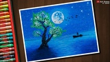 Step by Step Moonlight Tree Landscape drawing for beginners with Oil Pastels