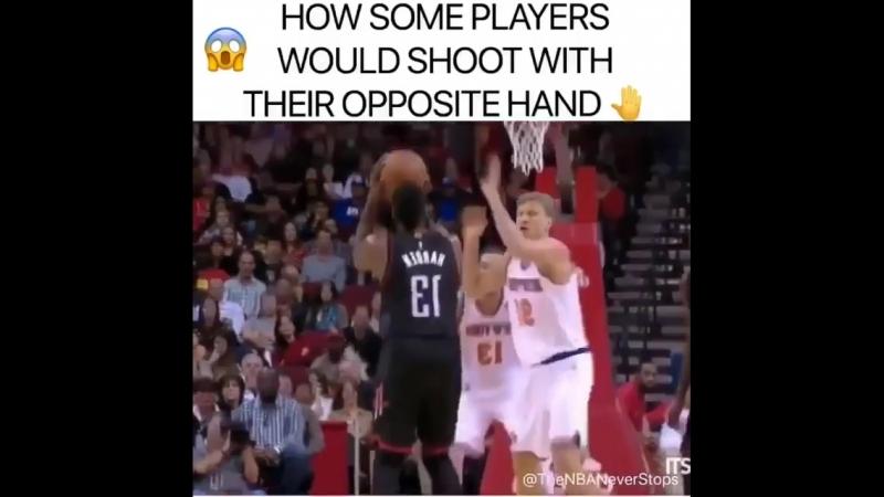 Если бы игроки НБА бросали другой рукой...
