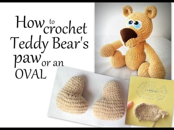 Amigurumi Bear Pattern - How to crochet Teddy Bears paw or an oval using soft velvet yarn (Row 2).