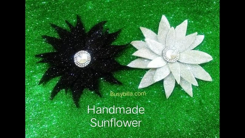 Diy glitter sheet flower, sunflower making