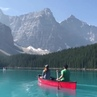 Canoeing at Moraine Lake in Banff National Park, Canada