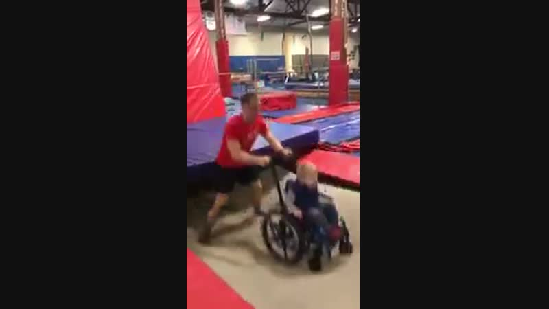 This little boy in the wheelchair is Wyatt He wanted to jump on a trampoline and TNT in North Dakota didnt say he cant or c