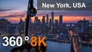 New York USA City of Skyscrapers 360 8K aerial video